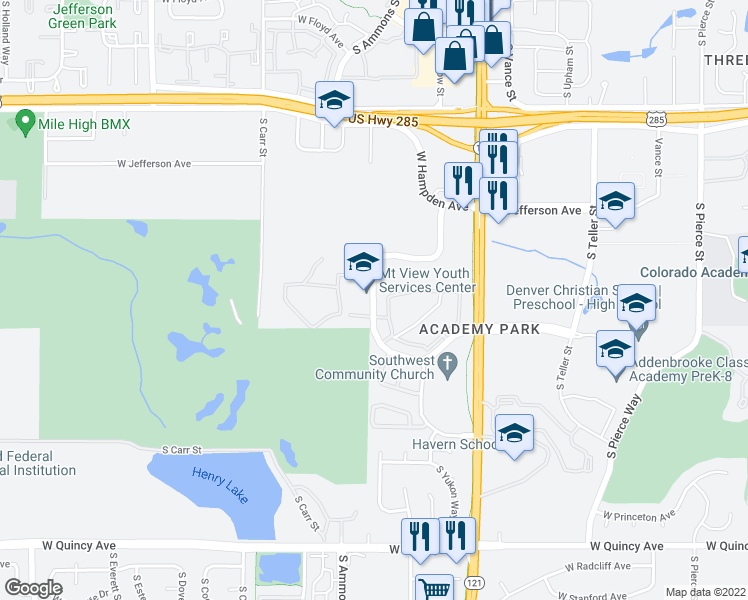 map of restaurants, bars, coffee shops, grocery stores, and more near 7846 W Mansfield Pkwy in Denver