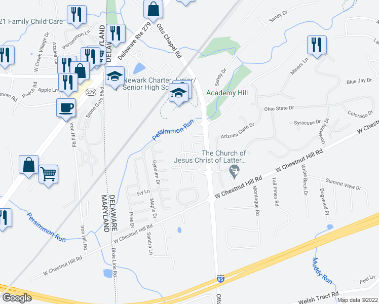 map of restaurants, bars, coffee shops, grocery stores, and more near 9 Wenark Drive in Newark