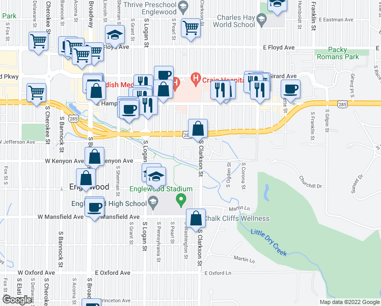 map of restaurants, bars, coffee shops, grocery stores, and more near 701-763 E Kenyon Ave in Englewood