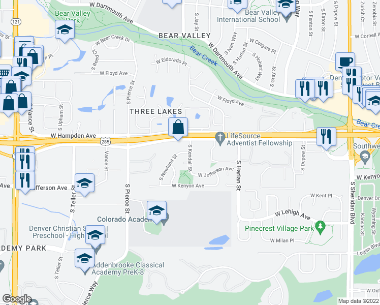 map of restaurants, bars, coffee shops, grocery stores, and more near 3550 South Kendall Street in Denver