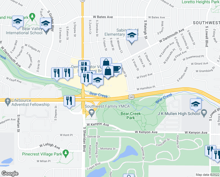 map of restaurants, bars, coffee shops, grocery stores, and more near 9 in Denver