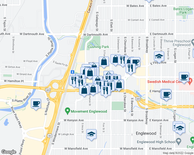 map of restaurants, bars, coffee shops, grocery stores, and more near Englewood Pkwy in Englewood