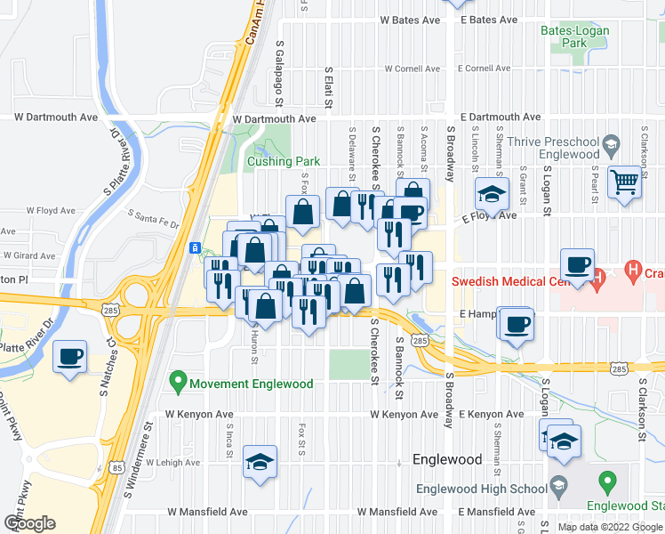 map of restaurants, bars, coffee shops, grocery stores, and more near 3379-3405 South Elati Street in Englewood