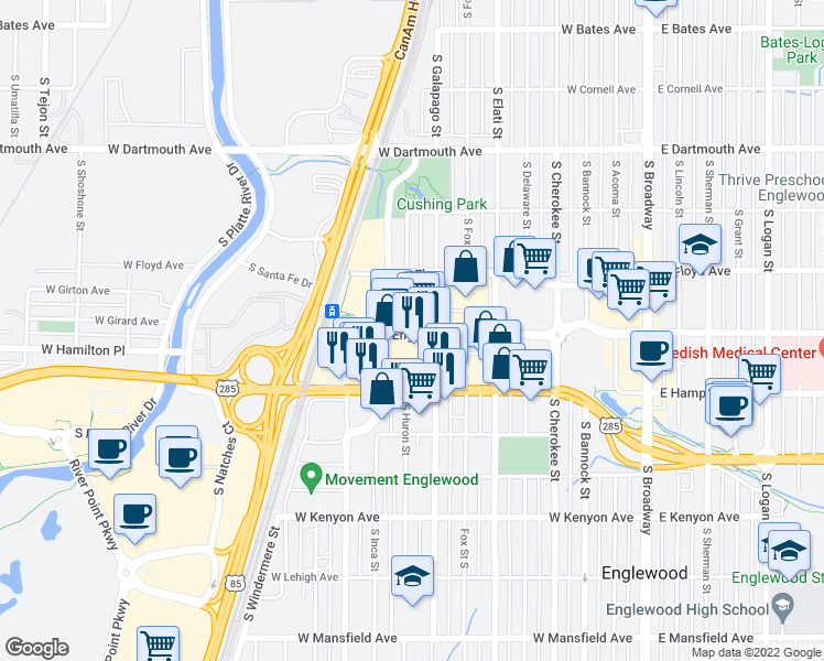 map of restaurants, bars, coffee shops, grocery stores, and more near 801 Englewood Parkway in Englewood