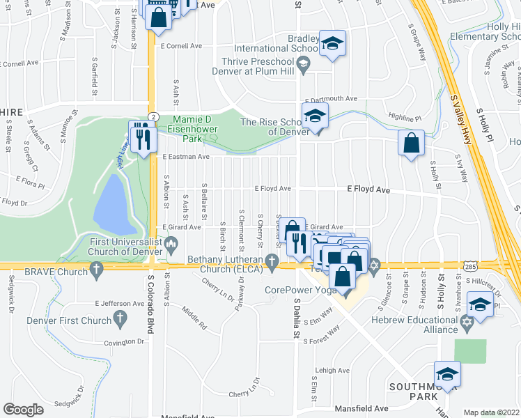 map of restaurants, bars, coffee shops, grocery stores, and more near 3375 S Cherry St in Denver
