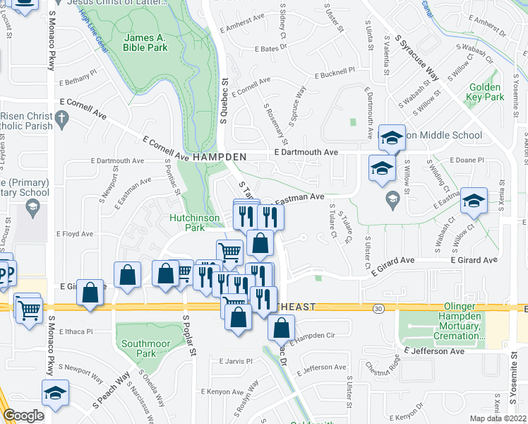 map of restaurants, bars, coffee shops, grocery stores, and more near E Eastman Ave & S Tamarac Dr in Denver