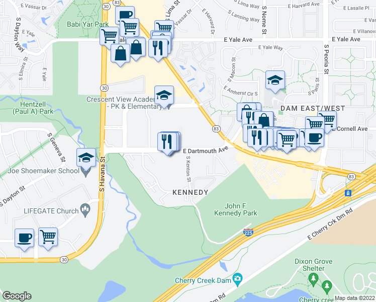 map of restaurants, bars, coffee shops, grocery stores, and more near East Dartmouth Avenue & South Kenton Street in Denver