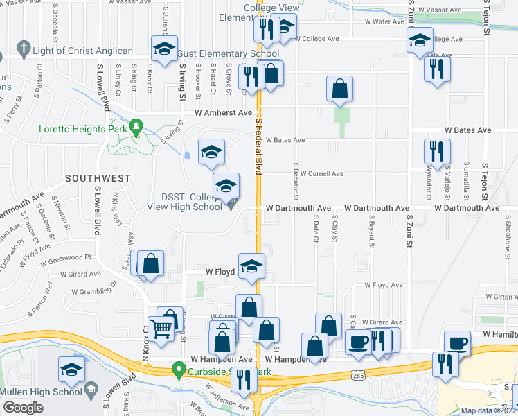 map of restaurants, bars, coffee shops, grocery stores, and more near 3125-3143 South Federal Boulevard in Denver