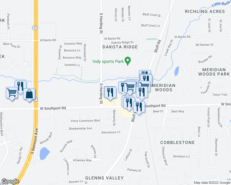map of restaurants, bars, coffee shops, grocery stores, and more near 1511 Murphys Landing Drive in Indianapolis