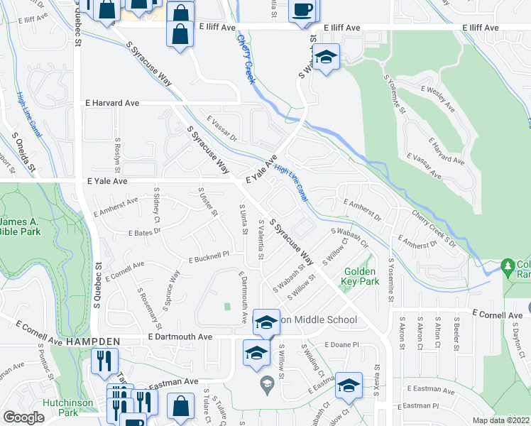 map of restaurants, bars, coffee shops, grocery stores, and more near 8223-8249 South Syracuse Way in Denver