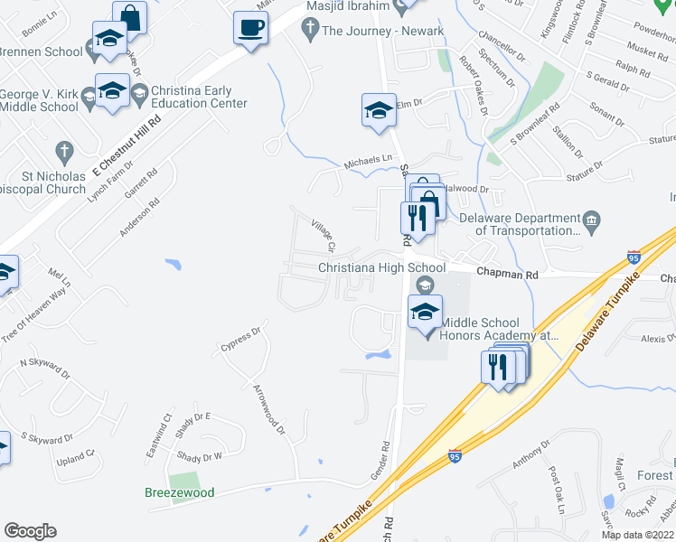 map of restaurants, bars, coffee shops, grocery stores, and more near 573-589 Oakdale Cir in Newark