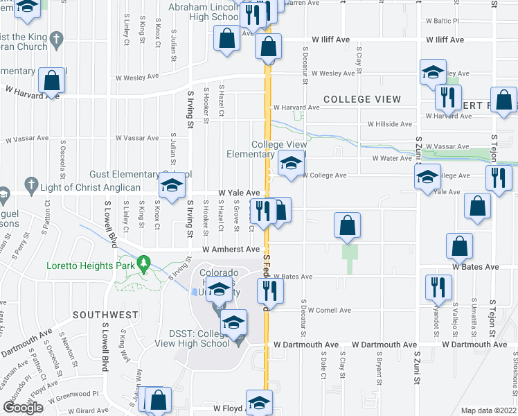 map of restaurants, bars, coffee shops, grocery stores, and more near 3001-3033 West Yale Avenue in Denver