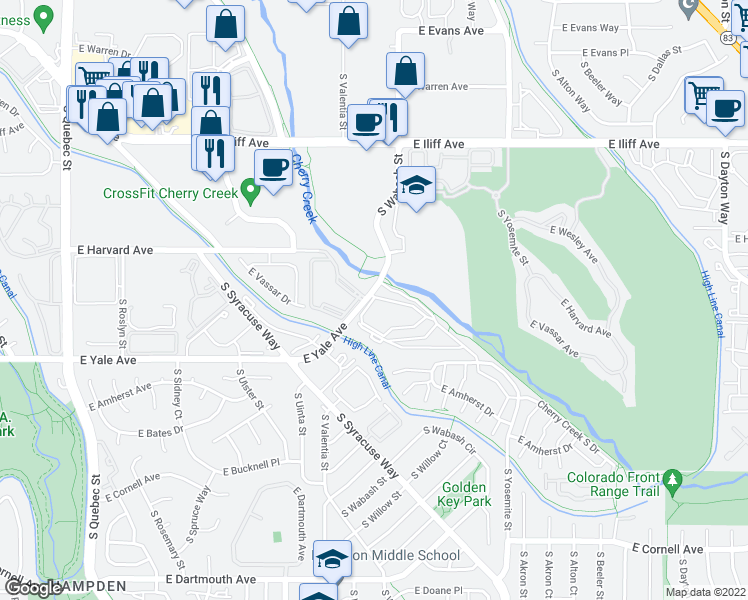 map of restaurants, bars, coffee shops, grocery stores, and more near 8420-8442 East Yale Avenue in Denver