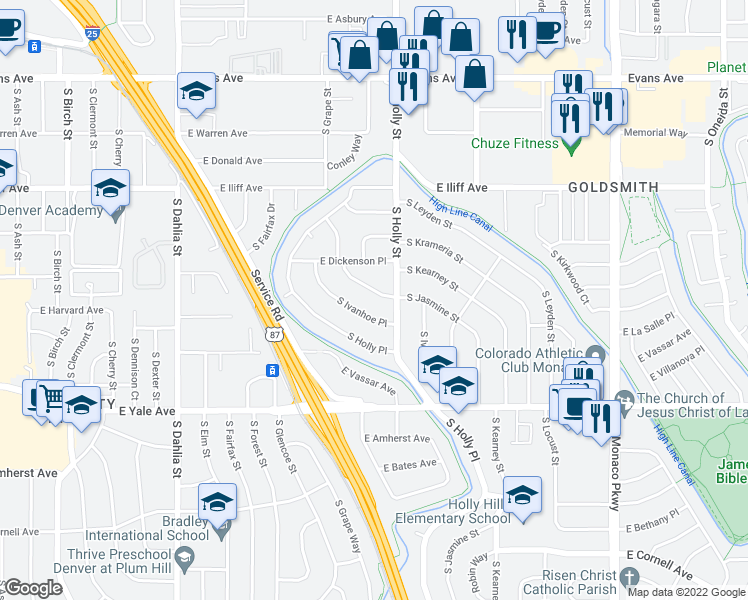 map of restaurants, bars, coffee shops, grocery stores, and more near 2530-2540 South Ivanhoe Place in Denver