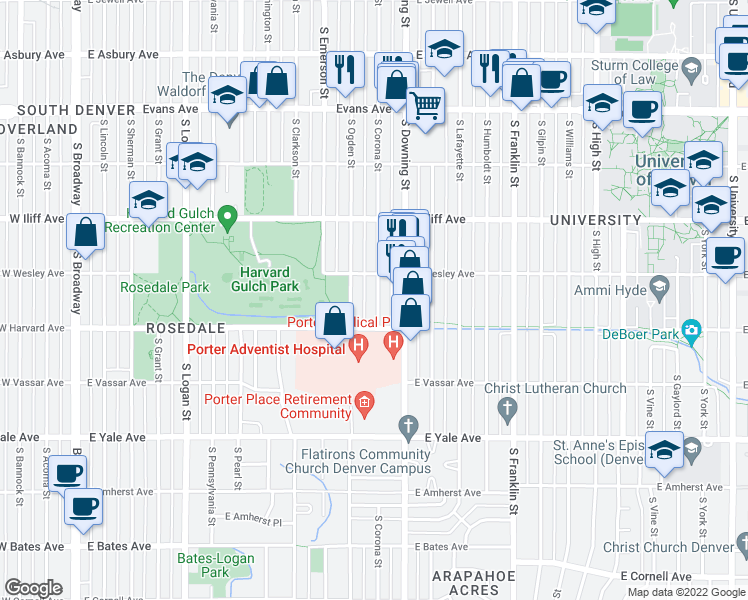 map of restaurants, bars, coffee shops, grocery stores, and more near 2456-2462 South Corona Street in Denver