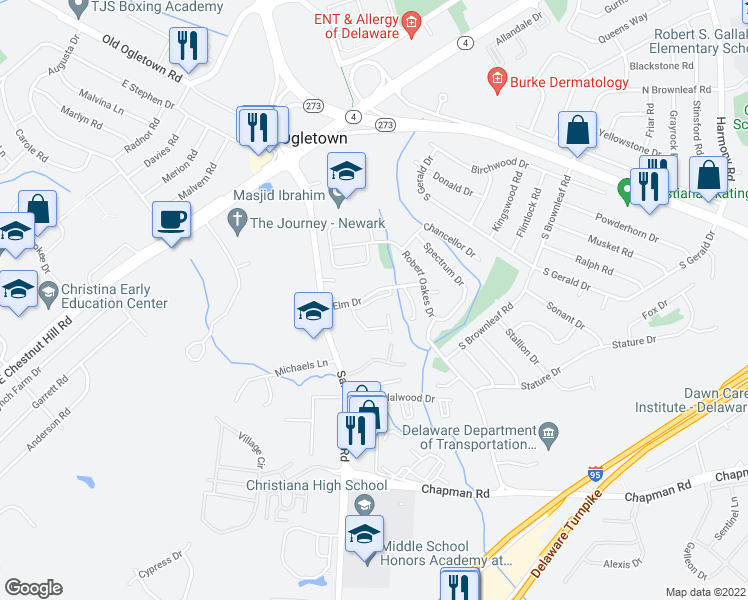 map of restaurants, bars, coffee shops, grocery stores, and more near 1301 Coventry Ln in Newark