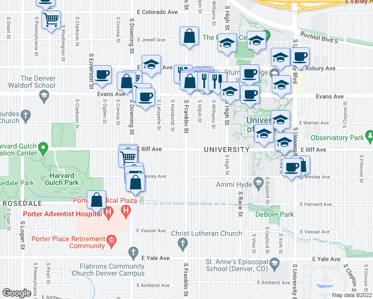 map of restaurants, bars, coffee shops, grocery stores, and more near E Iliff Ave & S Franklin St in Denver