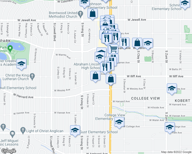 map of restaurants, bars, coffee shops, grocery stores, and more near 3080 W Iliff Ave in Denver