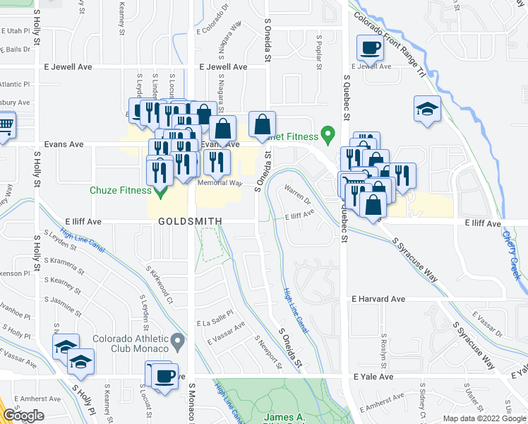 map of restaurants, bars, coffee shops, grocery stores, and more near 2290 South Oneida Street in Denver