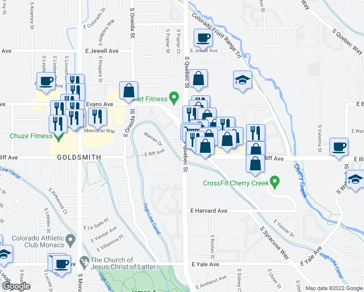 map of restaurants, bars, coffee shops, grocery stores, and more near High Line Canal Trail in Denver