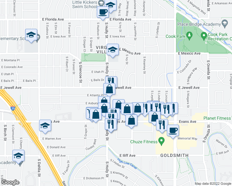 map of restaurants, bars, coffee shops, grocery stores, and more near 5633 East Atlantic Place in Denver