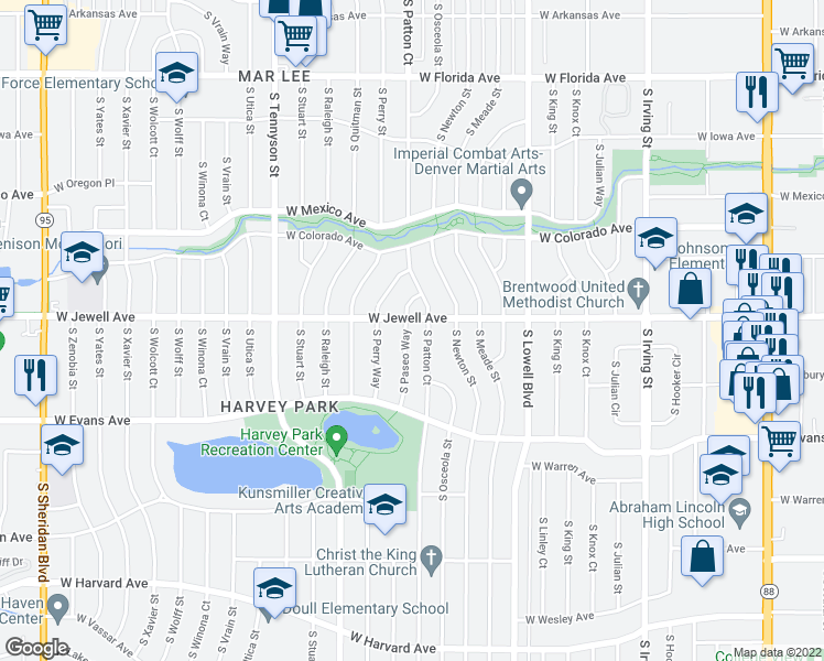 map of restaurants, bars, coffee shops, grocery stores, and more near 1912 South Paseo Way in Denver