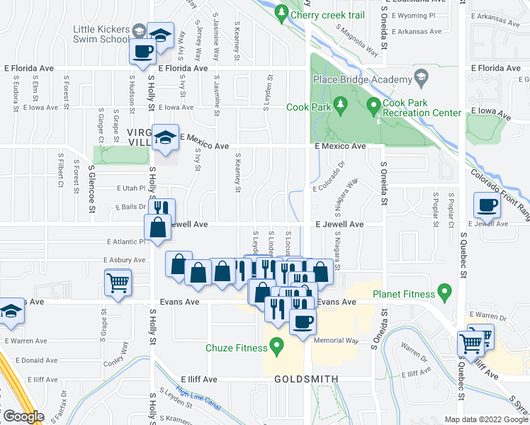 map of restaurants, bars, coffee shops, grocery stores, and more near 1875 S Linden Way in Denver