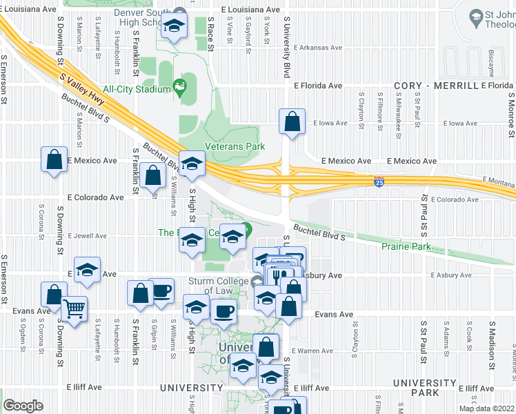 map of restaurants, bars, coffee shops, grocery stores, and more near 2225 Buchtel Boulevard in Denver