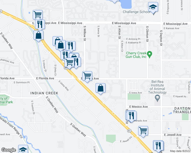 map of restaurants, bars, coffee shops, grocery stores, and more near 8707 East Florida Avenue in Denver