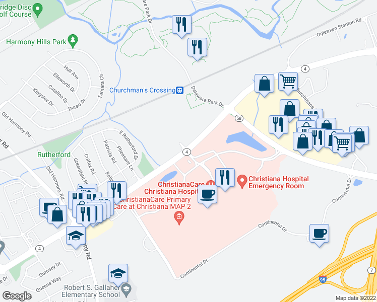 map of restaurants, bars, coffee shops, grocery stores, and more near 100 Hygeia Drive in Newark