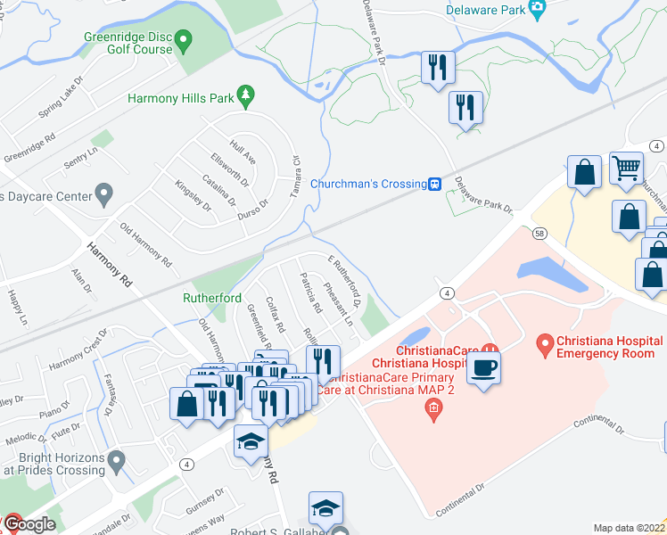 map of restaurants, bars, coffee shops, grocery stores, and more near 126 East Rutherford Drive in Newark
