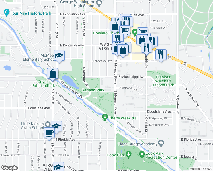 map of restaurants, bars, coffee shops, grocery stores, and more near 1205 South Monaco Parkway in Denver
