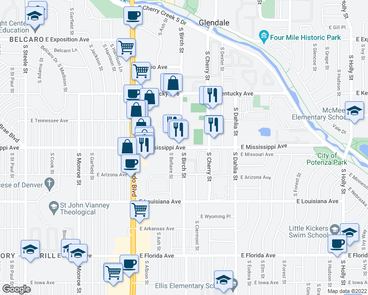 map of restaurants, bars, coffee shops, grocery stores, and more near East Mississippi Avenue & South Birch Street in Denver