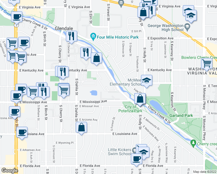 map of restaurants, bars, coffee shops, grocery stores, and more near 5252-5262 Cherry Creek S Dr in Denver
