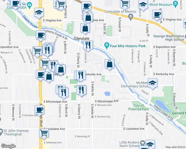 map of restaurants, bars, coffee shops, grocery stores, and more near 4805 E Kentucky Ave in Glendale