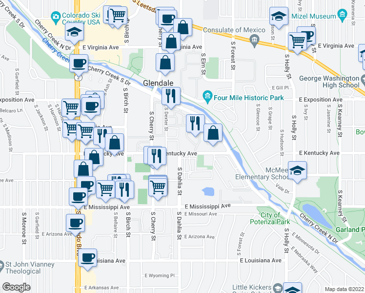 map of restaurants, bars, coffee shops, grocery stores, and more near 4805 East Kentucky Avenue in Denver