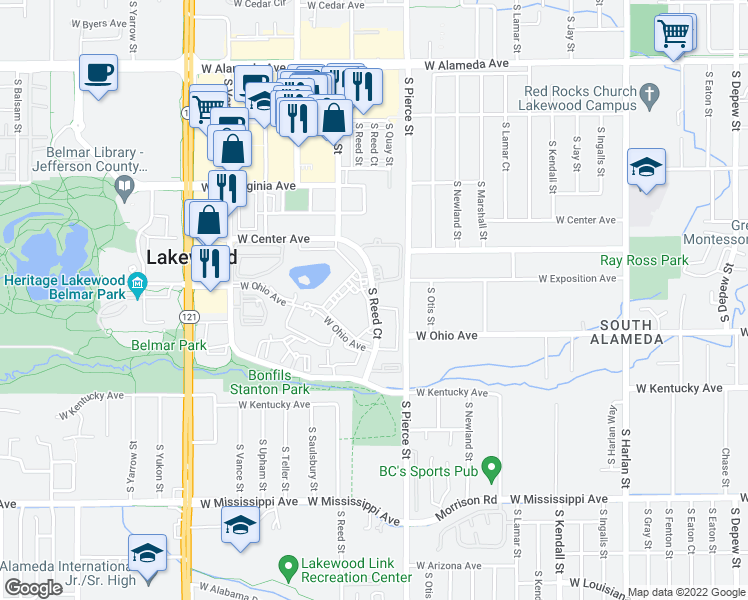 map of restaurants, bars, coffee shops, grocery stores, and more near 700 S Reed Ct in Denver