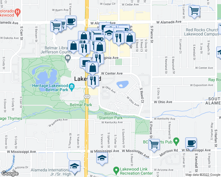 map of restaurants, bars, coffee shops, grocery stores, and more near 7395 W Ohio Ave in Denver