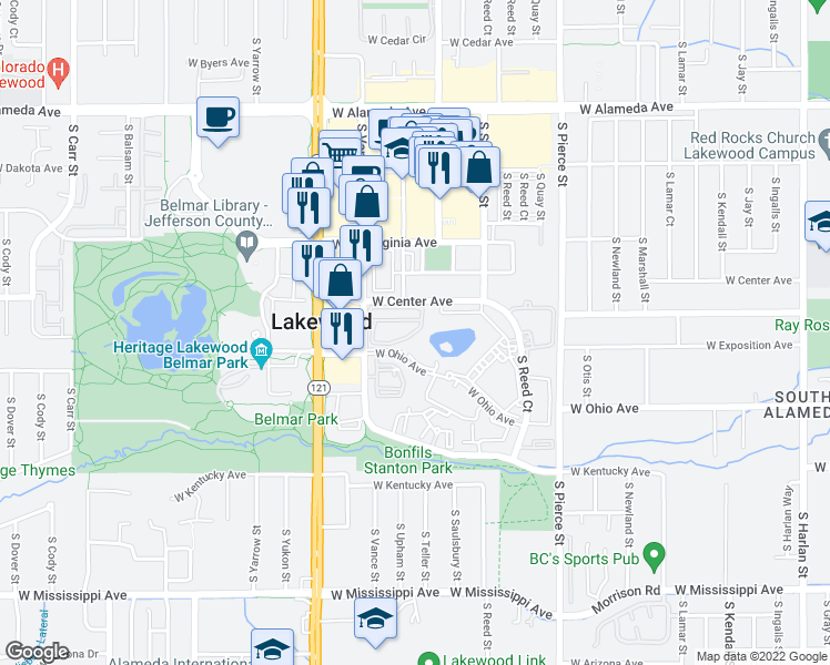 map of restaurants, bars, coffee shops, grocery stores, and more near 730 S Vance St in Lakewood