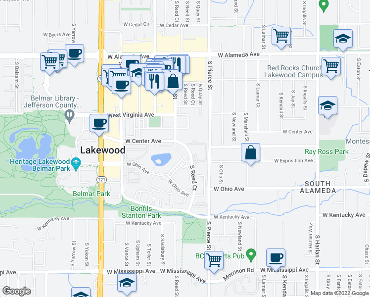 map of restaurants, bars, coffee shops, grocery stores, and more near 658 South Reed Court in Denver