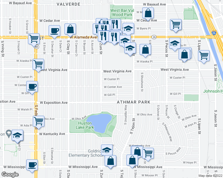 map of restaurants, bars, coffee shops, grocery stores, and more near 2230 W Center Ave in Denver