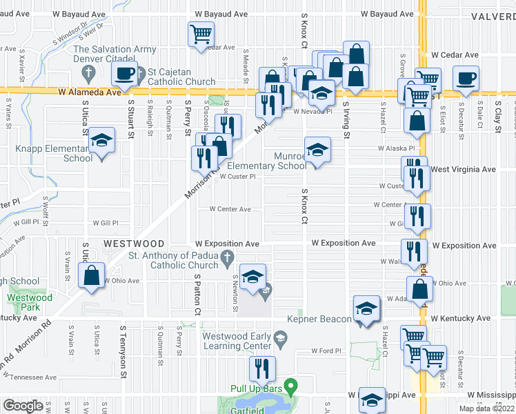 map of restaurants, bars, coffee shops, grocery stores, and more near 591 S Lowell Blvd in Denver
