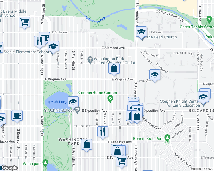 map of restaurants, bars, coffee shops, grocery stores, and more near 536 S Race St in Denver