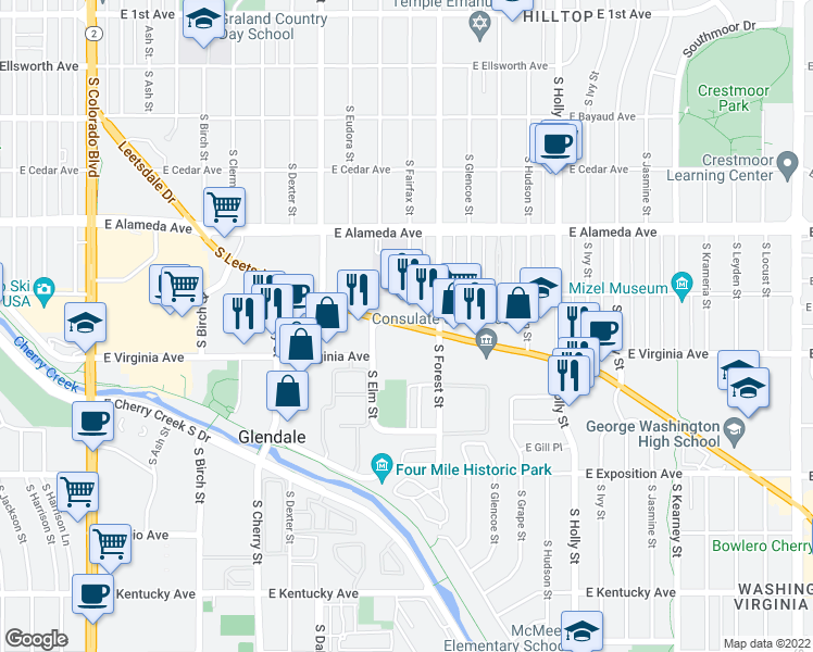 map of restaurants, bars, coffee shops, grocery stores, and more near 5075 Leetsdale Drive in Denver