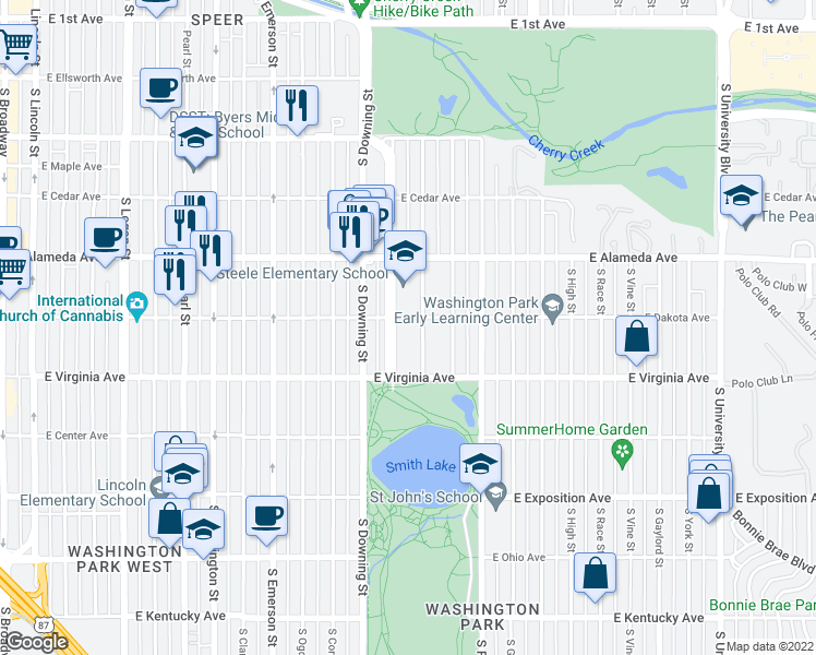 map of restaurants, bars, coffee shops, grocery stores, and more near 420 South Marion Parkway in Denver