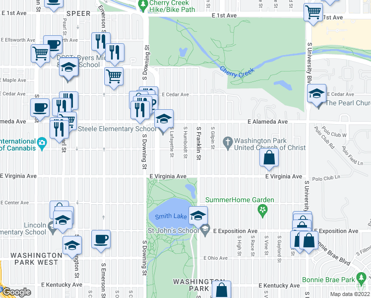 map of restaurants, bars, coffee shops, grocery stores, and more near E Dakota Ave & S Humboldt St in Denver