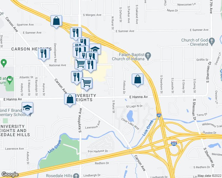 map of restaurants, bars, coffee shops, grocery stores, and more near 2848-3122 Cherry Glen Dr in Indianapolis