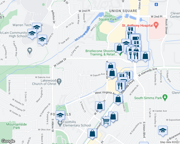 map of restaurants, bars, coffee shops, grocery stores, and more near 12640 West Cedar Drive in Lakewood