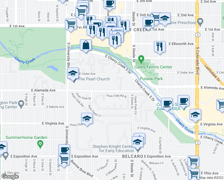 map of restaurants, bars, coffee shops, grocery stores, and more near 2911 East Alameda Avenue in Denver