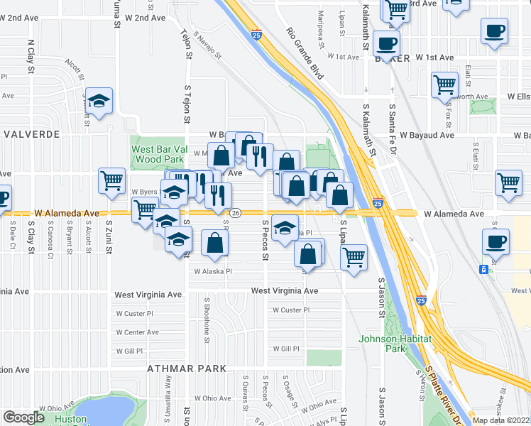 map of restaurants, bars, coffee shops, grocery stores, and more near W Alameda Ave & S Pecos St in Denver